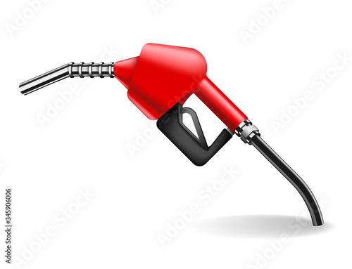 Fotografie, Obraz Red gasoline pump nozzle isolated on white