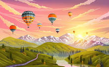 Colorful Hot Air Balloons Flying Over Mountain. Traveling, Planning Summer Vacation, Tourism And Journey Objects. Balloons In Sky Against Backdrop Of Mountains With Sunset Or Sunrise Over Green Meadow