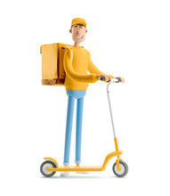 Express Delivery Concept. 3d Illustration. Cartoon Character. Delivery Guy In Yellow Uniform Stands With The Big Bag And A Scooter.
