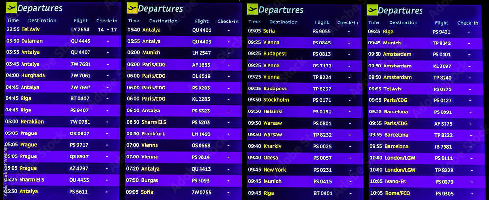 Fototapeta Airport terminal Board arrivals or departures dark blue widescreen