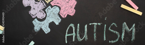 panoramic shot of chalkboard with word autism and puzzle drawing Canvas Print