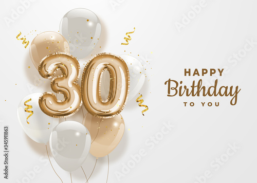 Happy 30th birthday gold foil balloon greeting background Fototapete