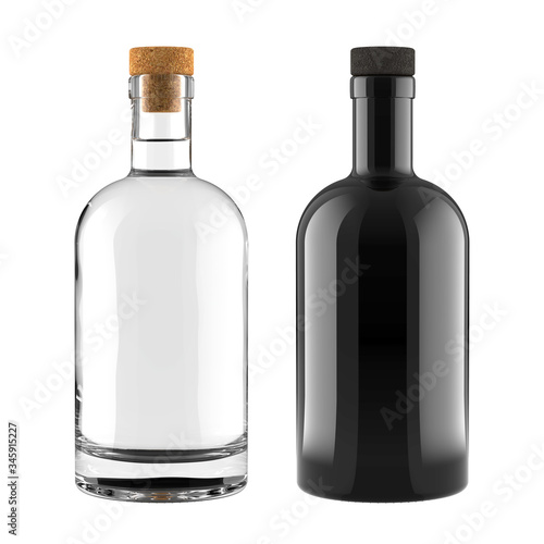 Fotografia A Set of Clear Glass and Black Bottles for Whiskey, Vodka, Gin, Rum, Liquor or Tequila Bottle for Accurate Work with Light and Shadows