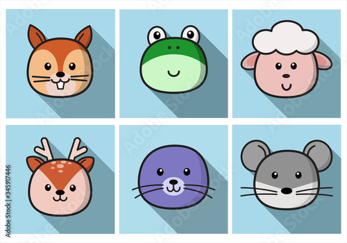 Set Of Cute Cartoon Animals Face Isolated Canvas Print
