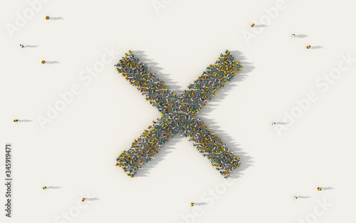 Large group of people forming multiplication symbol in social media and community concept on white background Canvas Print