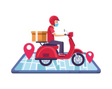 Smartphone With Delivery Worke...