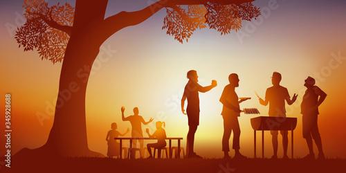 Stampa su Tela Concept d'un moment de convivialité, avec un groupe d'amis réunies autour d'un barbecue, pour passer un moment de détente sous le soleil d'une journée d'été