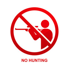 No Hunting Sign Isolated On Wh...