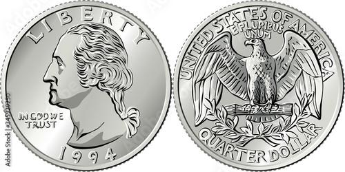 Fototapeta American money, Washington quarter dollar or 25-cent silver coin, first US presi
