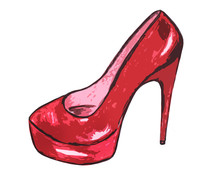 Red High-heeled Shoe On A Whit...