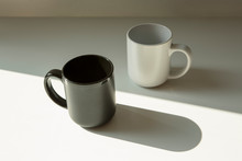 Black And White Mugs Light And Shadow