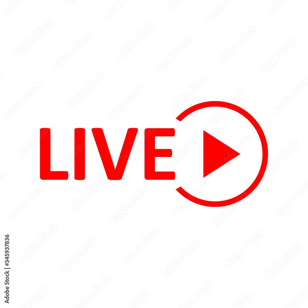 Fototapeta Live Stream sign. Red symbol, button of live streaming, broadcasting, online stream emblem.