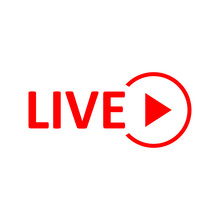 Live Stream Sign. Red Symbol, ...