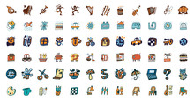 72 Icons, Doodle Design Elements, Hand Drawn Illustration, Instruments And Objects, Mixed Funny Characters, Set Of Hand Drawn Symbols