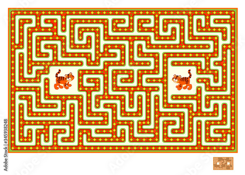 Logic puzzle game with labyrinth for children and adults Canvas Print