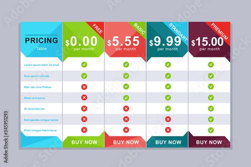 Fotografía Pricing table design