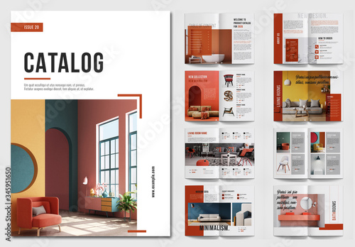 Obraz Product Catalog Layout with Red Accents - fototapety do salonu