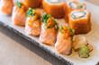 salmon sushi and salmon maki