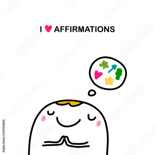 Photo I love affirmations hand drawn vector illustration in cartoon comic style man dr