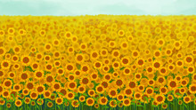 Sunflower Garden Background Ve...