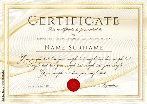 Certificate template with Guilloche pattern (lines), golden frame border and red wax seal Wallpaper Mural