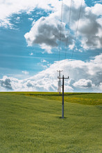 Power Lines On A Field