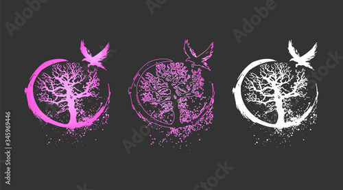 Photo Beautiful vector illustration of a tree of life and a raven - flat neon design
