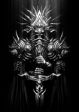 Sinister Armor With A Helmet In The Shape Of A Skull, Consists Of Many Plate Parts With Patterns, Holds A Sword With Iron Gloves. 2D Illustration