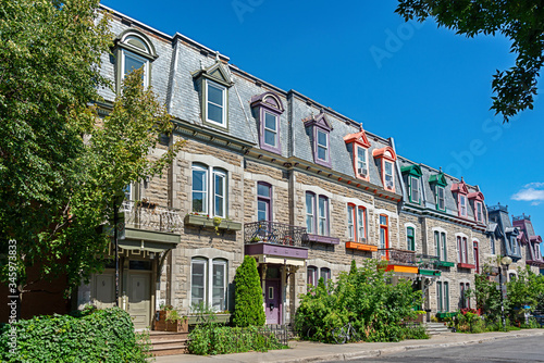 Colorful Victorian houses in Le plateau Mont Royal borough in Montreal, Quebec Canvas