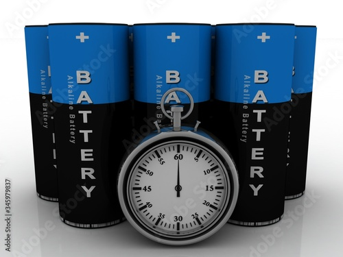 Photo 3d rendering Electrical energy and power supply source concept, accumulator batt