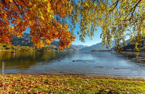 Wall mural - Beautiful Sunny day in Alps. wonderlust view of highland lake With autumn trees under sunlight and perfect sky. Landscape with Alps and Zeller See in Zell am See, Salzburger Land, Austria