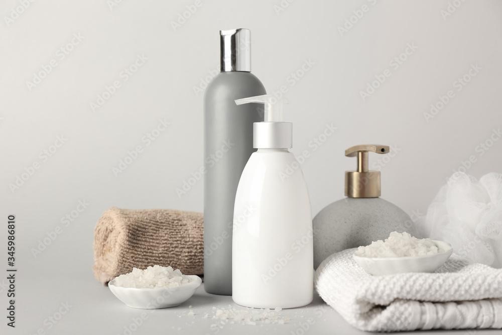 Set of bath accessories on light background - obrazy, fototapety, plakaty