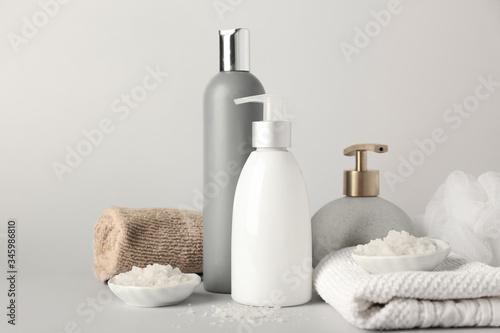 Fototapeta Set of bath accessories on light background obraz na płótnie