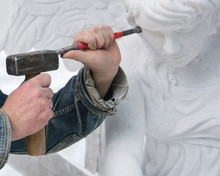 Sculptor At Work. Stone Carvin...