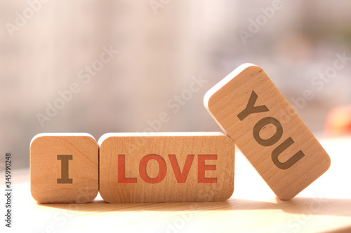 Close-up. Copy space. Concept eco. Wooden cubes with the inscription I love you.