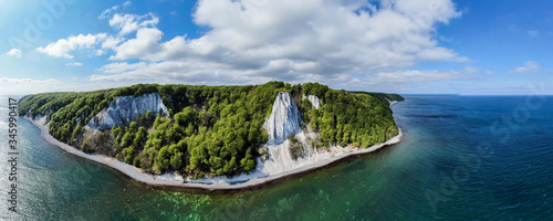 Panorama view of the Koenigsstuhl or Kings Chair and Victoria´s View / Ruegen (Rügen) Chalk Cliffs in the Jasmund National Park in the Baltic sea (Germany, Europe) Island of Ruegen - 345990417
