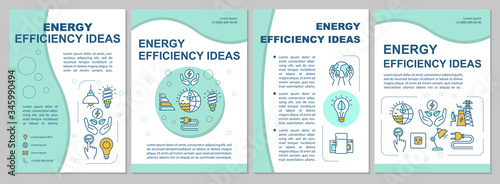 Fototapeta Energy saving ideas brochure template. Electricity waste reduction. Flyer, booklet, leaflet print, cover design with linear icons. Vector layouts for magazines, annual reports, advertising posters obraz