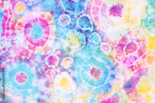Obraz colorful tie dye pattern hand dyed on cotton fabric abstract texture background. - fototapety do salonu