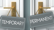 Permanent Or Temporary As A Choice In Life - Pictured As Words Temporary, Permanent On Doors To Show That Temporary And Permanent Are Different Options To Choose From, 3d Illustration