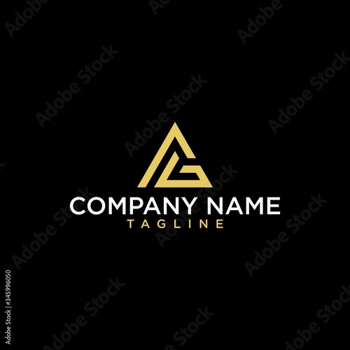 Photo Geometric letter AG or GA logo design