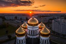 Church Domes And Crosses At Su...