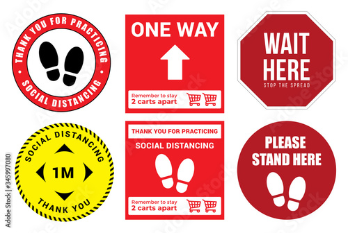 Collection of Social distancing graphic signs to use in the public queues in vec Fototapet
