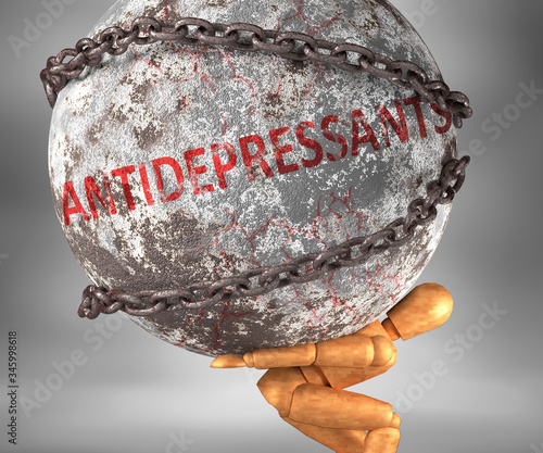 Photo Antidepressants and hardship in life - pictured by word Antidepressants as a hea