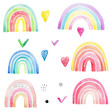 Set of funny cartoon rainbow and small colorful elements; watercolor hand draw illustration; with white isolated background