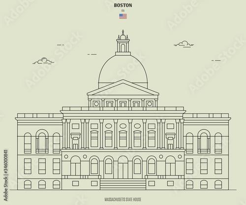 Fototapeta Massachusetts State House in Boston, USA. Landmark icon
