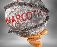 Narcotics And Hardship In Life - Pictured By Word Narcotics As A Heavy Weight On Shoulders To Symbolize Narcotics As A Burden, 3d Illustration