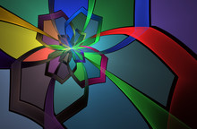 Abstract Stain Glass Flower Pa...