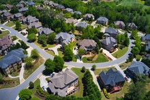 Panoramic Aerial View Of A Beautiful Subdivision In An Upscale Neighborhood In Georgia, USA