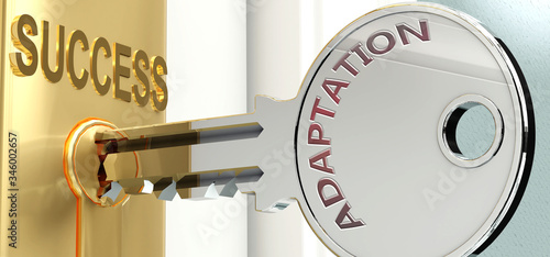 Photo Adaptation and success - pictured as word Adaptation on a key, to symbolize that