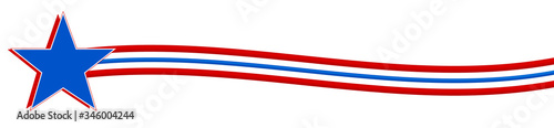 Fotografie, Tablou Red, white, and blue star with waved stripes - Graphic Illustration